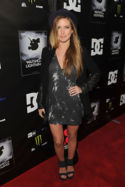 Audrina Patridge arrived at a screening of 'Waiting for Lightning' wearing a pair of black suede wedges with bold ankle straps.