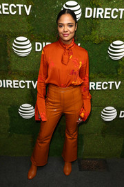 Tessa Thompson rounded out her monochromatic look with a pair of Solace London booties.