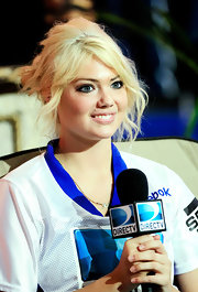 Kate Upton threw her hair into a casual updo with long tousled bangs at the 6th Annual Celebrity Beach Bowl.