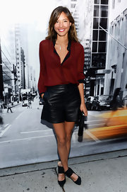 Sleek leather shorts were a bold choice for fashion week. Kelsey Chow looked right at home at the DKNY fashion show.