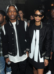 Chanel Iman matched her boyfriend's style with this black bomber jacket when she attended the DKNY birthday bash.