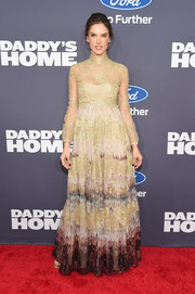 Alessandra Ambrosio was a sight to behold in this printed silk and lace empire gown by Valentino at the New York premiere of 'Daddy's Home.'