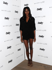 Zuri Tibby teamed her dress with a pair of two-tone ankle-strap sandals.