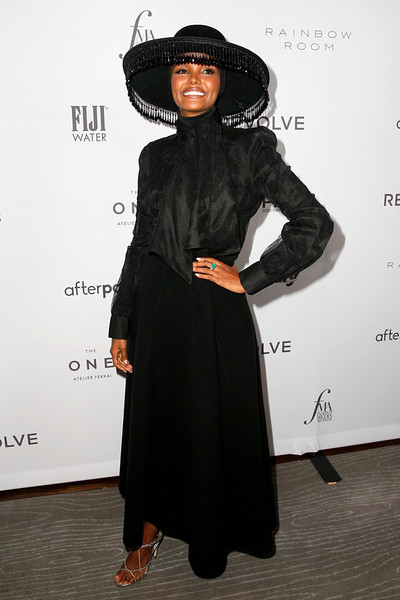 More Pics of Halima Aden Long Skirt (1 of 5) - Dresses & Skirts Lookbook - StyleBistro [clothing,fashion,dress,black hair,shoulder,outerwear,joint,carpet,abaya,flooring,halima aden,2019 fashion media awards,new york city,the rainbow room,daily front row,the daily front row]