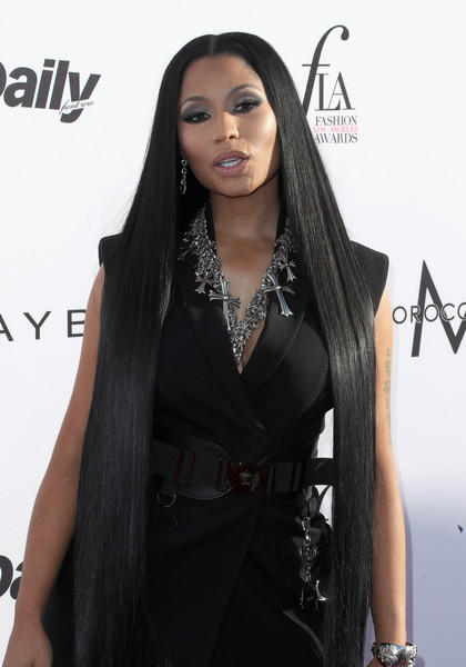 Nicki Minaj looked like a walking shampoo commercial with her ultra-long straight tresses at the Fashion Los Angeles Awards.