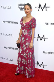 Nicole Richie was boho-glam in a magenta Juicy Couture gown with metallic floral embroidery at the 2018 Fashion Los Angeles Awards.