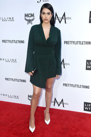 Amelia Gray Hamlin was business-meets-fun in a green blazer dress with an asymmetrical hem at the 2018 Fashion Los Angeles Awards.