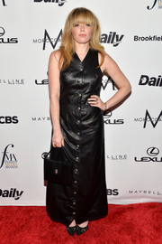 Natasha Lyonne donned an ankle-length black leather dress for the Fashion Media Awards.