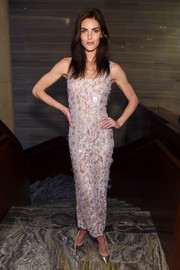 Hilary Rhoda kept it sweet at the Fashion Media Awards in a pale-pink Alessandra Rich lace dress adorned with a scattering of paillettes.