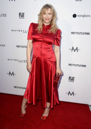 Courtney Love was vintage-chic in a red satin midi dress by Hillier Bartley at the 2019 Fashion Los Angeles Awards.