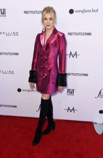 Katherine McNamara shimmered in a metallic fuchsia blazer dress with contrast cuffs at the 2019 Fashion Los Angeles Awards.