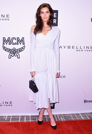 Hilary Rhoda looked simply stylish in a draped, asymmetrical powder-blue dress by ADEAM at the Daily Front Row's Fashion Media Awards.