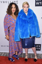 Lena Dunham hit the Daily Front Row's Fashion Media Awards rocking an electric-blue faux-fur coat by Diane von Furstenberg.