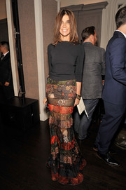 Carine Roitfeld paired a lovely Givenchy patchwork skirt with a simple black sweater for the Fashion Media Awards.