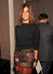 Carine Roitfeld attended the Fashion Media Awards wearing a thick gold bracelet.