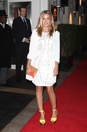 Caggie Dunlop attended the Daily Mail Inspirational Woman of the Year Awards wearing a studded white dress.