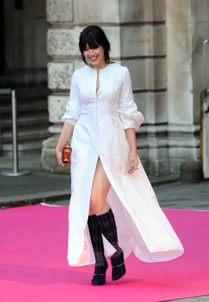 Daisy Lowe Knee High Boots [royal academy of arts: summer exhibition,white,pink,clothing,fashion,red carpet,beauty,leg,fashion model,dress,thigh,daisy lowe,london,england,royal academy of arts summer exhibition]