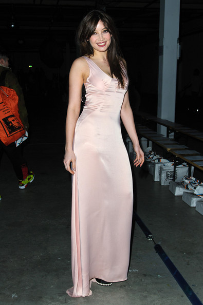Daisy Lowe Evening Dress [aw14,clothing,dress,fashion model,shoulder,gown,fashion,beauty,pink,hairstyle,haute couture,giles,daisy lowe,front row,london,england,london fashion week,show]