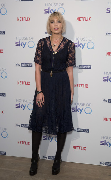 Daisy Lowe Lace Dress [house of sky q,clothing,dress,fashion,little black dress,footwear,fashion design,cocktail dress,tights,event,carpet,daisy lowe,photocall,england,london,the vinyl factory,house of sky q launch]
