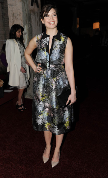 Daisy Lowe Print Dress [aw14,clothing,fashion model,dress,fashion,cocktail dress,fashion design,footwear,leg,event,premiere,erdem,daisy lowe,front row,london,england,the old selfridges hotel,london fashion week,show]