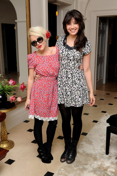 Daisy Lowe Print Dress [clothing,tights,pink,fashion,dress,footwear,stocking,leg,design,shoulder,dresses,family,jaime winstone,pearl lowe,daisy lowe,r,pearl lowe launches collection of vintage,peacocks,spring collection,launch]