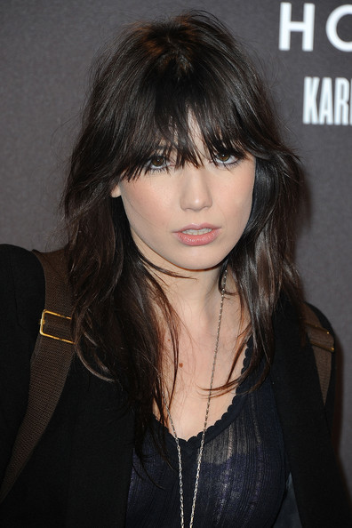 Daisy Lowe Layered Cut [hair,hairstyle,face,bangs,layered hair,eyebrow,black hair,chin,brown hair,beauty,hogan,karl lagerfeld,daisy lowe,paris,france,cocktail party,paris fashion week,cocktail party]