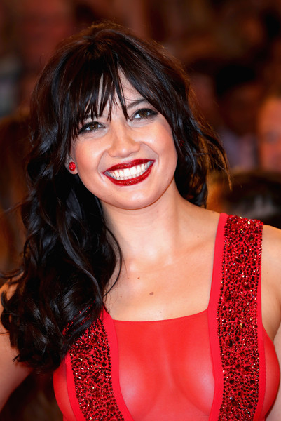 Daisy Lowe Long Curls with Bangs [strictly come dancing 2016,hair,lip,face,hairstyle,lady,eyebrow,red,beauty,chin,black hair,daisy lowe,england,borehamwood,red carpet launch,elstree studios,launch]