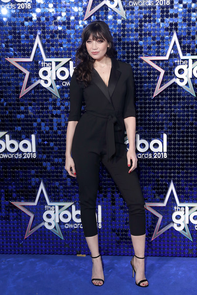 Daisy Lowe Jumpsuit [clothing,cobalt blue,electric blue,red carpet,carpet,premiere,fashion,suit,performance,flooring,red carpet arrivals,daisy lowe,global awards,eventim apollo,london,england,hammersmith,the global awards]