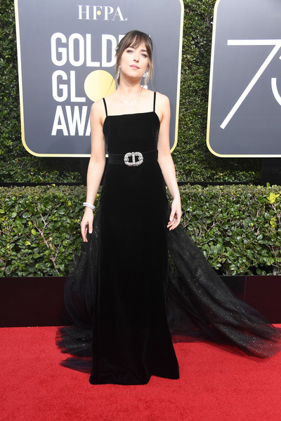 Dakota Johnson Princess Gown [dress,red carpet,clothing,carpet,shoulder,premiere,fashion,flooring,fashion model,gown,arrivals,dakota johnson,the beverly hilton hotel,beverly hills,california,golden globe awards,annual golden globe awards]
