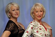 Helen Mirren posed next to her wax figure while showing off her mid-length bob.