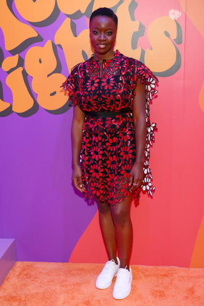 Danai Gurira Leather Sneakers [clothing,fashion,pink,footwear,flooring,dress,fashion design,magenta,carpet,shoe,danai gurira,refinery29 29rooms,new york,brooklyn city,expand your reality opening party,your reality opening]