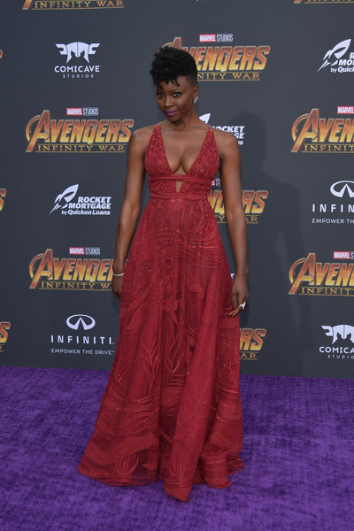 Danai Gurira Empire Gown [red carpet,clothing,carpet,dress,premiere,maroon,shoulder,flooring,fashion,event,arrivals,danai gurira,california,los angeles,marvels avengers: infinity war,disney,premiere,premiere of disney]