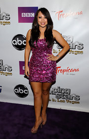 Cheryl Burke arrived at the opening of 'Dancing With the Stars: Live in Las Vegas' wearing a sexy sequined tank dress and nude peep toe platform pumps.