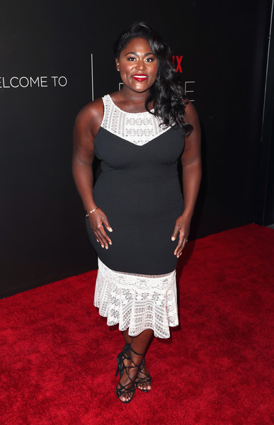 Danielle Brooks Lace-Up Heels [clothing,carpet,dress,red carpet,cocktail dress,fashion,flooring,shoulder,premiere,footwear,arrivals,danielle brooks,fysee,beverly hills,california,netflix fysee space,netflix,kick-off,event,fysee kick off event]