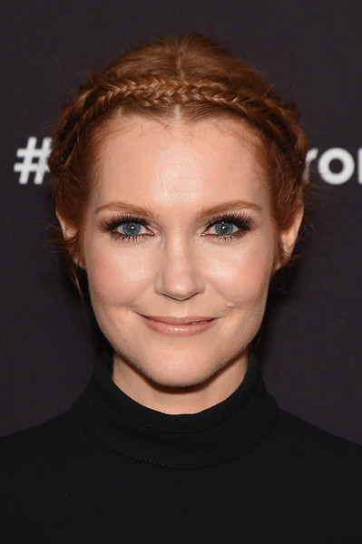 Darby Stanchfield Braided Updo [face,hair,eyebrow,forehead,hairstyle,chin,cheek,head,lip,nose,arrivals,darby stanchfield,avery fisher hall,new york city,lincoln center,abc]