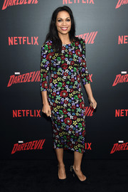 Rosario Dawson looked peppy in a colorful floral sheath dress by Suno at the 'Daredevil' season 2 premiere.
