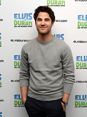 Darren Criss looked casual and comfy in a gray sweatshirt.