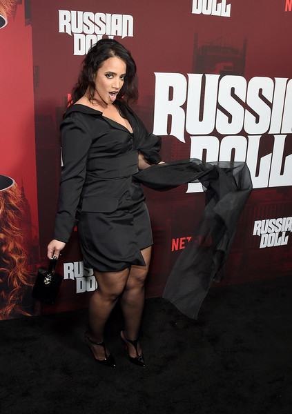 Dascha Polanco Pumps [russian doll,season,premiere,dress,leg,event,carpet,little black dress,flooring,fictional character,thigh,dascha polanco,new york city,netflix,metrograph,premiere]