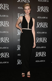 Elizabeth Debicki was minimalist-modern at the David Jones fashion launch in a black Alexander Wang column dress held together with fishline.