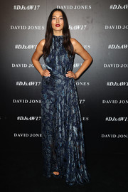 Jessica Gomes chose a printed maxi dress by Bianca Spender for the David Jones Autumn 2017 collections launch.
