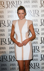 Sophie Faulkner showed off a contemporary cocktail dress while attending the David Jones season launch.