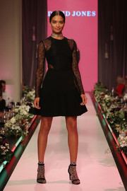Shanina Shaik was classic and elegant in a sheer-panel LBD by Rebecca Vallance at the David Jones collections launch.