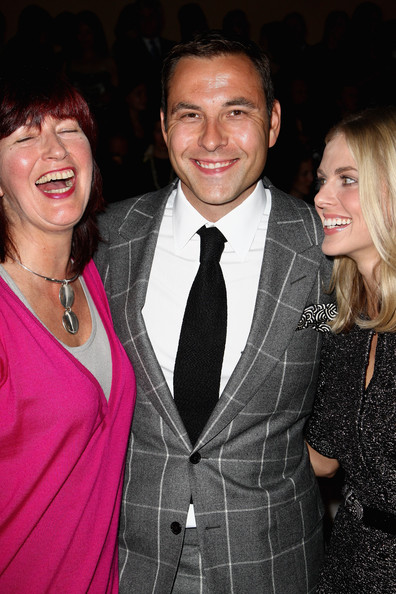 David Walliams Classic Solid Tie [suit,formal wear,event,fun,smile,tuxedo,outerwear,tie,dress,premiere,david walliams,donna air,janet street-porter,l-r,london,england,burberry,burberry prorsum spring,london fashion week,summer 2010 show]