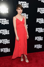 Sami Gayle looked summer-ready in a flowy red ruffle dress during the 'Dawn of the Planet of the Apes' premiere