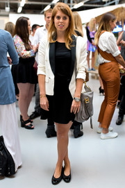 Princess Beatrice was office-chic in a two-tone blazer layered over an LBD at the Markus Lupfer presentation.