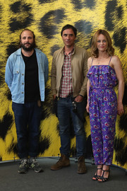 Vanessa Paradis looked breezy and cute in a purple floral jumpsuit with a ruffle neckline at the Locarno Film Festival.