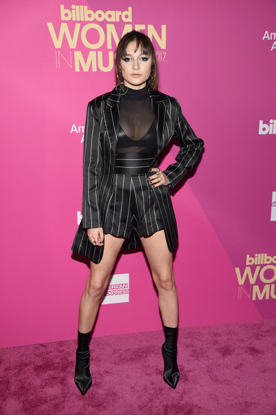 Daya Short Suit [red carpet,clothing,pink,fashion,thigh,latex clothing,footwear,leg,fashion model,carpet,magenta,daya,hollywood highland center,ray dolby ballroom,california,billboard women in music]