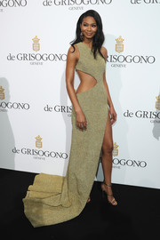 Chanel Iman finished off her sexy look with strappy gold heels.