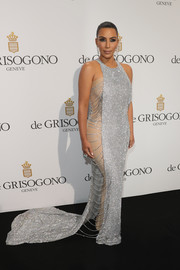 Kim Kardashian brought major glitter to the De Grisogono party with this Lan Yu Couture chainmail fishtail gown with a nude underlay.
