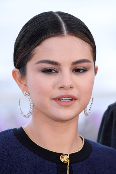 More Pics of Selena Gomez Diamond Hoops (1 of 68) - Hoop Earrings Lookbook - StyleBistro [the dead dont die,hair,face,eyebrow,hairstyle,chin,lip,beauty,skin,forehead,black hair,selena gomez,photocall,photocall,cannes,france,the 72nd annual cannes film festival]